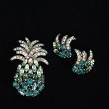 Schiaparelli 2pc. Green Pineapple Pin & Clip on Earrings
