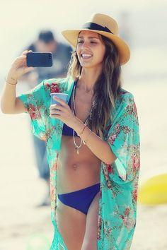 Jessica Alba colorful swim attire style
