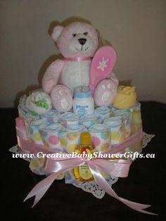 baby girl shower diaper cakes | Diaper Cakes For Baby Girls | Baby Cakes Made With Diapers, Baby Toys ...