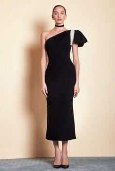 SAIID KOBEISY on Sale: One Shoulder Black Crepe Midi Dress Buy from Best selection of authentic designer dresses online. Manu Garcia, Saiid Kobeisy, Couture, Fitted Bodice, Buy Dress, Dresses Online, Designer Dresses, One Shoulder, Formal Dresses