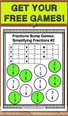 Get this and 11 other fraction bumps games as an exclusive FREEBIE when you subscribe to the mailing list at Games4Gains.com.  These 12 Fraction Bump Games include differentiated practice for fraction models, fractions on a number line, equivalent fractions, comparing fractions, and simplifying fractions.