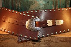 Leatherock Wide Brown Belt with Turquoise Studs from Cowgirl Kim
