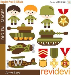 20% OFF SALE Army soldier clip art Clipart Army Boys