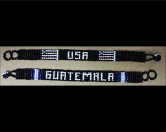 Patriotic Beaded Bracelets Guatemala and USA by CCIWorld on Etsy, $6.00 (We are out of the Guatemala ones)  #Guatemala #orphans #internationaladoption