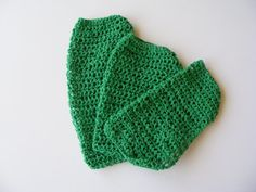 Set of 3 crocheted cotton wash cloths