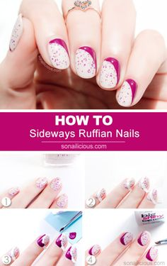 Sideways Ruffian Nails | 29 DIY Nail Tutorials You Need To Try This Spring