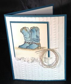 Country Livin' cowboy boots; paper lace doily ruffle; Festive EF; Dapper Denim