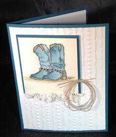 Country Livin' cowboy boots; paper lace doily ruffle; Festive EF; Dapper Denim