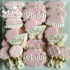 "467 Likes, 7 Comments - Christy (@dolcecustomcookies) on Instagram: ""#pinkandgold #babyshowercookies #decoratedcookies #decoratedsugarcookies #sugarcookies…"""