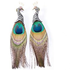 Peacock feather earrings in oxidized silver and 18-karat gold with rose-cut diamonds and ruby eyes by Lotus Arts de Vivre