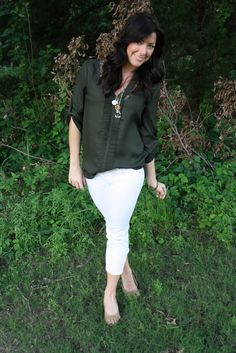 white capris with blousey top