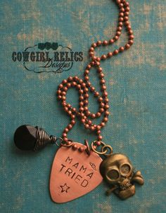 Rustic Western Charm Necklace-Mama Tried, Mixed Metal, Guitar Pick, Skull, Black, Outlaw, Rebel on Etsy, $24.00