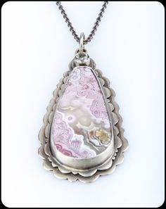 Laguna Lace Agate Pendant in Sterling Silver and Green Quartz scalloped edge lace pattern pink green gemstone Agate Jewelry, Stone Jewelry, Pendant Jewelry, Jewelry Logo, Jewelry Art, Silver Necklaces, Sterling Silver Pendants, Silver Jewelry, Silver Ring