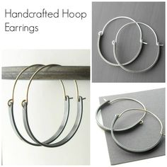 Handmade jewelry including these modern style hoop earrings made from sterling silver and gold filled wire.