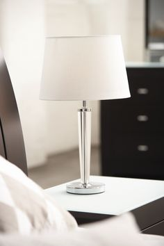 Prestige Lamp by Zero Uno from Harvey Norman NewZealand Harvey Norman, The Prestige, Dream Bedroom, Cut Glass, Chrome Finish, Table Lamp, Satin, Crystals, Lighting