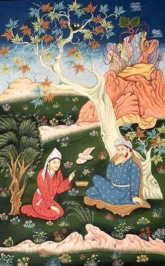 Lovers in garden- Persian miniature Mughal Paintings, Islamic Paintings, Illustrations, Illustration Art, Middle Eastern Art, Art Asiatique, Art Of Love, Iranian Art, Leather Art