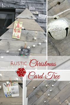 Pallet Wood Christmas Card Tree - a rustic, beautiful DIY way to display holiday cards as home decor