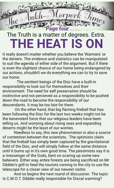 The Ankh-Morpork Times. The Truth is a matter of degrees. Extra. THE HEAT IS ON. page four. by David Green 22 Sept 2015