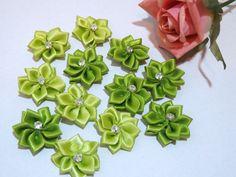 Satin Ribbon Flowers Rhinestones 12 fabric flower by sweetiefluhr