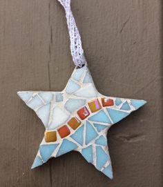 Beachy blue star mosaic ornament - Glass Needle Works