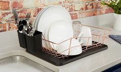 Tower Dish Rack with Removable Tray, Removable Cutlery Holders, Rose Gold and Black Plate Racks, Dish Racks, Copper Dishes, Cutlery Holder, Dish Drainers, Kitchen Storage Solutions, Drip Tray, Cleaning Materials, Cooking
