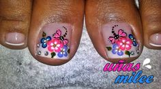 Pedicure Designs, Toe Nail Designs, Summer Toe Nails, Spring Nails, Butterfly Makeup, Different Types Of Nails, Nail Effects, Gold Eyes, Finger Painting