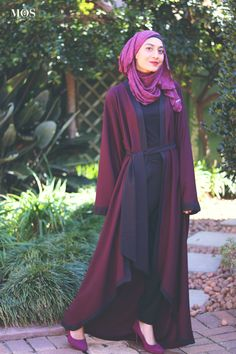 Ruhee Collection Berry Textured Kimono - Modest Fashion   My Online Souk   www.myonlinesouk.co.za Modest Dresses, Eid, Dressing, Clothes, Collection, Fashion, Tall Clothing, Moda, Fashion Styles