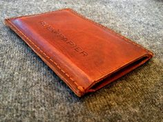 Leather iPhone Sleeve / Hand sewn / Hand embossed / by RueDePapier, $40.00