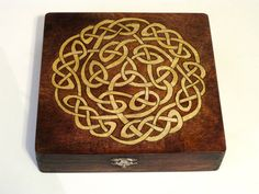 Celtic Knot Woodburned Memory Box by DekoMuse on Etsy, $75.00