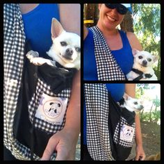 Small dog carrier especially for hiking.  Made it with a fabric grocery sack.  Added one long strap all the way around (for support).  Added a cute puppy print over the grocery label.  Wa la!