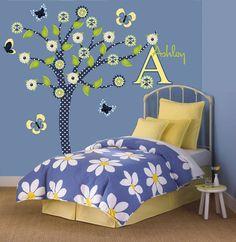 Denim Daisy Tree Wall Decal for Tween Teen Girl Bedroom Decor.  Great new tree wall decal I designed for Teen/Tween Girls Room
