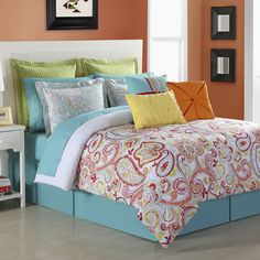 Fiesta Torrence Paisley Comforter Set ($140) ❤ liked on Polyvore featuring home, bed & bath, bedding, comforters, queen bedding, paisley queen comforter set, paisley comforter sets, twin bedding and paisley comforter