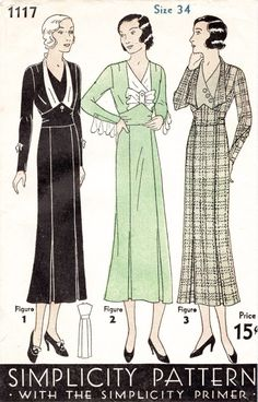 30s 1930s dress Simplicity 1117 vintage sewing pattern kick pleat fitted skirt art deco bodice in 3 styles bust 40 repro