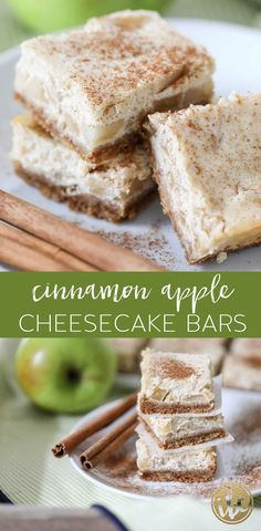 These Cinnamon Apple Cheesecake Bars are a delicious fall dessert recipe. #apple #cinnamon #cheesecake #bars #dessert #recipe #fallbaking #apples