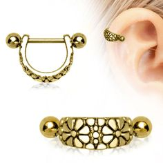 Gold Plated Daisy Ear Cuff Cartilage Earring