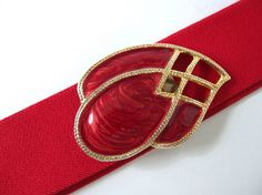 Vintage 1980's Red Elastic Belt with Marbled Teardrop Buckle, Modern Size 18 to 22, XL to XXL