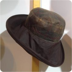 Big Brim Waxed Rain Hat Women, Waterproof Wide Brimmed Rainhat in Tan or Brown, Ladies Crushable Wax Hat with Tartan Crown, Town and Country Rain Hat, Rain Storm, Tartan Pattern, Your Hair, Wax, Winter Hats, Glamour, Brown, How To Wear