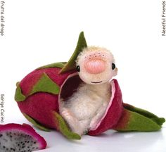 PITAHAYA miniature #bear 4 inches in felted dragon #fruit...no fear of foreign fruits