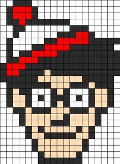 Wheres_Waldo_Perler by ReginaRegenbogen on Kandi Patterns Fuse Bead Patterns, Kandi Patterns, Perler Patterns, Beading Patterns, Cross Stitch Patterns, Perler Beads, Fuse Beads, Mini Cross Stitch, Beaded Cross Stitch