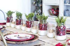 Fruit jars with epsom salts, cranberries and juniper. Fruit jars with epsom salts and a contrasting tan votive. LOVE!!! from Christmas Home Tour 2014