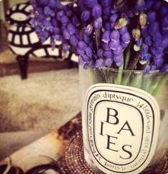 Reusing Dyptique candle jars as vases.
