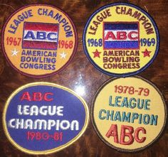 Lot of 4 American Bowling Congress Retro Patches ABC 1960s-80s League Champion  | eBay