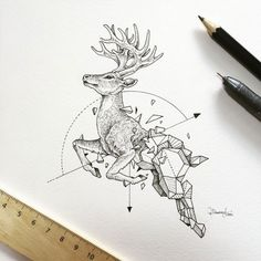 Drawing Animals Awesome Intricate Drawings Fuse Animals And Geometric Shapes - UltraLinx - We've featured Philippines-based artist Kerby Rosanes before for his incredible doodles in his Moleskine notebook. Well now he's picked his pen back up to Geometric Deer, Geometric Drawing, Geometric Shapes, Geometric Tattoos, Geometric Tattoo Design, Geometric Sleeve, Animal Drawings, Pencil Drawings, Art Drawings