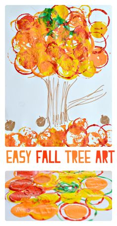 Simple fall art project for kids using cups.