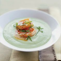 This chilled cucumber-avocado soup is accented with spicy glazed ...