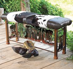 Boot Bench with Cowhide - Western Decor