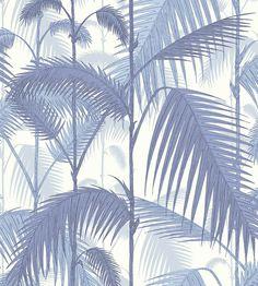 Papel pintado palmeras selva azul   telas & papel