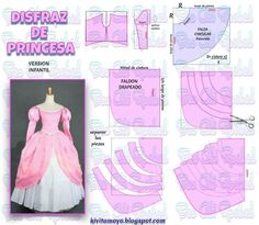 Ideas Sewing Baby Girl Projects Dress Patterns For 2019 Princess Dress Patterns, Kids Dress Patterns, Princess Dress Kids, Disney Princess Dresses, Doll Clothes Patterns, Clothing Patterns, Barbie Dress, Barbie Clothes, Diy Clothes