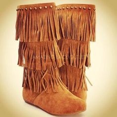 3 Layer Fringe Moccasin Boots for Women - Bohemian Stud Fringe Moccasin Boots with studs