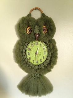 Vintage Woven Macrame Owl Clock by owlintervention on Etsy